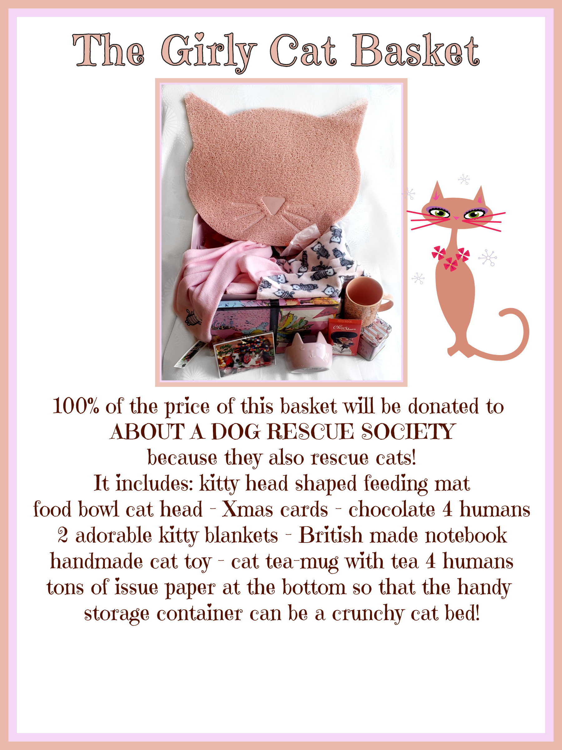 GIRLY CAT BASKET POSTER